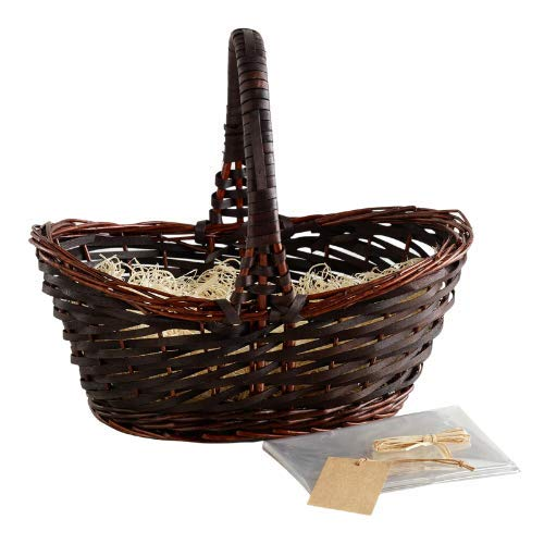 Cost Plus World Market Dark Brown Easter Basket with Clear Cellophane Bag