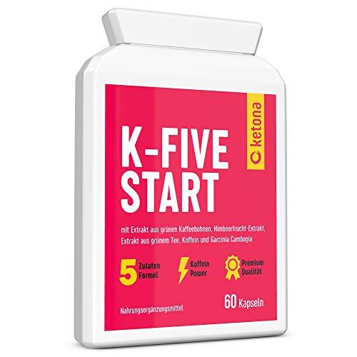 Ketona K-Five Start Fatburner Kapseln mit grünem Tee und Koffein Extrakt - 60 Stück Fettverbrenner Tabletten - Vegane Keto Diät Appetitzügler