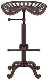 LOKKHAN Rustic Industrial Bar Stool - Cast Iron Tractor Stool Adjustable Height Swivel Breakfast Bar Stool (Copper)