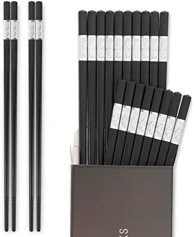 Hiware 10 Pairs Fiberglass Chopsticks - Reusable Chopsticks Dishwasher Safe, 9 1/2 Inches - Black