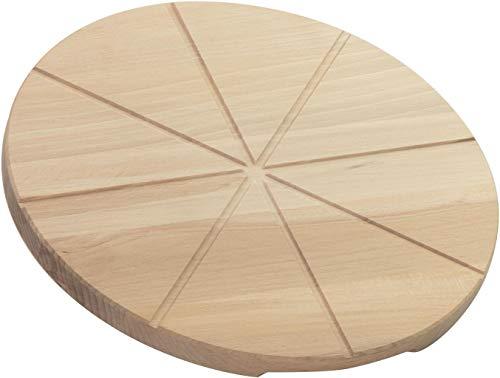 LAUBLUST Pizzabrett aus Buchenholz - Runder Pizzateller | Griff-Mulden & Schneide-Rillen - ca. 30x30x2cm, Natur, FSC®