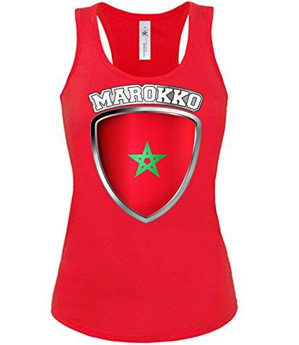 Marokko Wappen Fussball Fanshirt 5991 Fan Shirt Tshirt Fanartikel Artikel Frauen Damen Tank Top Tanktop T-Shirts Rot L