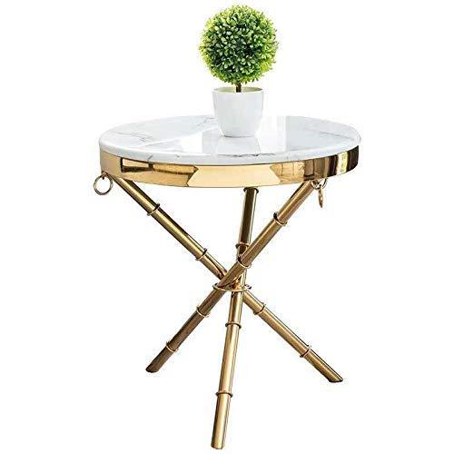 HYY-YY Mesa redonda pequeña, mesa de centro moderna simple de la esquina del acero inoxidable, mesa pequeña del lado del sofá del mármol de la personalidad
