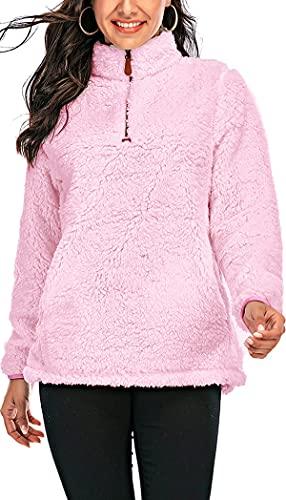Les umes - Sudadera de forro polar para mujer, con cremallera media, A7-rosa, XL