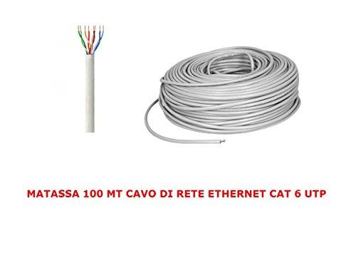My smart shop MATASSA 100 MT Metri Cavo di Rete UTP Cat 6 LAN ETHERNET M Bobina Internet Plug ADSL Modem Router Access Point REAPETER