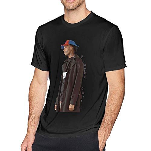 Playboi Carti - Camiseta de manga corta, cuello redondo, de algodón, estilo retro negro M