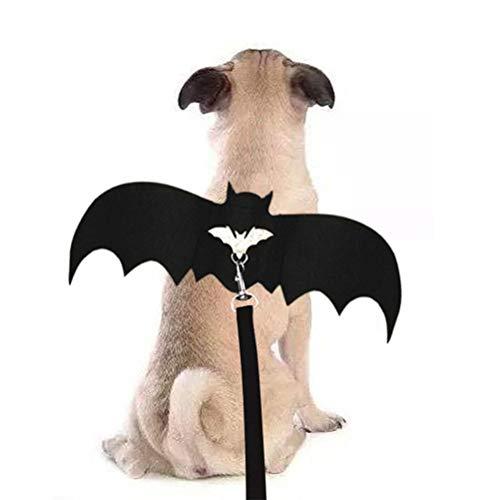 Alas de murciélago para mascota con cuerda ajustable, alas de murciélago para disfraz de Halloween para mascotas, accesorios de Halloween, para perro, gato, murciélago, ala de bate y cosplay, negro, Large