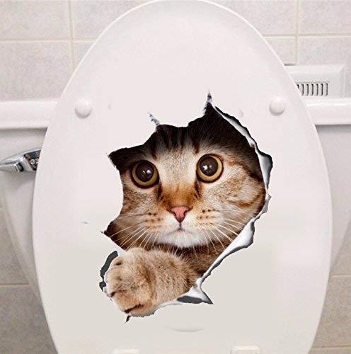 -Homeworld- Großer Katzen-Aufkleber mit 3D Effekt, 21x29cm, perfekt für Verschiedene weiße Möbel, den Kühlschrank oder Toilettendeckel. Tolles Geschenk für Katzenliebhaber! #8