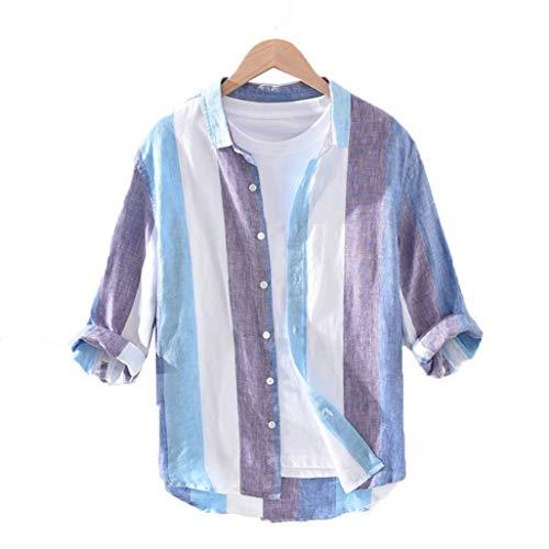 ストライプ柄 リネンシャツ メンズ 7分丈 長袖シャツ メンズ 前開き 通気性 Vネック カラフル おしゃれ アロハ風 重ね着 シャツジャケット 夏秋 かっこいい ノンアイロン 通気速乾 UVカット 黄