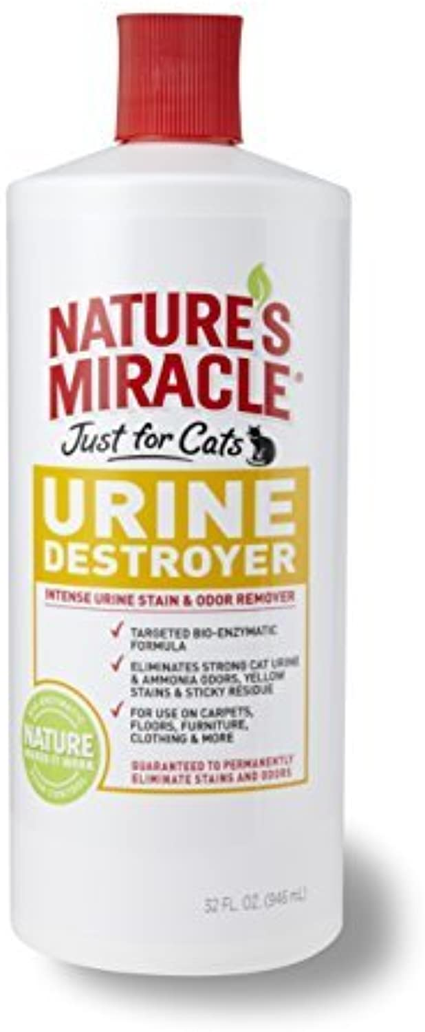 Nature's Miracle Just for Cats Urine Destroyer Intense Urine Stain & Odor Remover, 32Ounce Pour Bottle (P5721) by Nature's Miracle