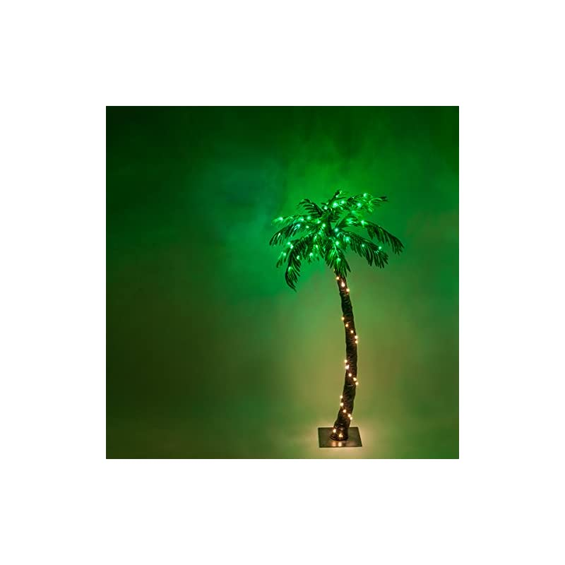 silk flower arrangements kringle traditions 10 function led lighted palm tree - pre-lit palm tree indoor/outdoor - remoted controlled with timer
