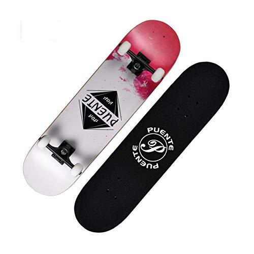 Kinderroller, Longboard Skateboards,GXYAS Skateboards für Anfänger, 7-lagiges Maple Wood Adult Tricks Skateboard für Anfänger, Geburtstagsgeschenk für Erwachsene Kinder Skateboard-A