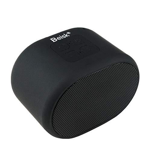 Beisk, Mini Altavoz Bluetooth Portátil, con 8-10 Horas de Reproducción, Sonido Estéreo 360º, Radio FM, TWS, Ideal para Camping, Playa, Viaje, Fiesta, Hogar, Color Negro