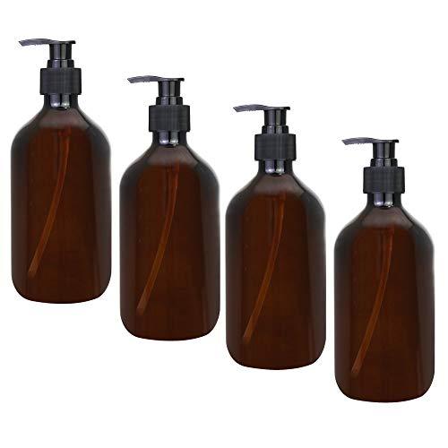 CODIRATO 4 Stück 500ml Leer Seifenspender Flasche wiederverwendbar Lotionspender Pumpspender Bernstein Kunststoff Flasche für Lotion, Duschgel, Handseife
