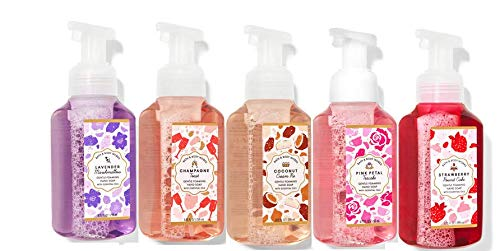 Bath and Body Works 5 Piece Set Lavender Marshmallow, Champagne Toast, Coconut Cream Pie,Pink Petal Tea Cake, Strawberry Pound Cake 8.75 fl. oz. / 259 mL Gentle Foaming Hand Soap
