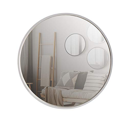 Espejo Redondo Moderno, Espejo de Pared, diámetro 50 cm, Madera, Color Blanco
