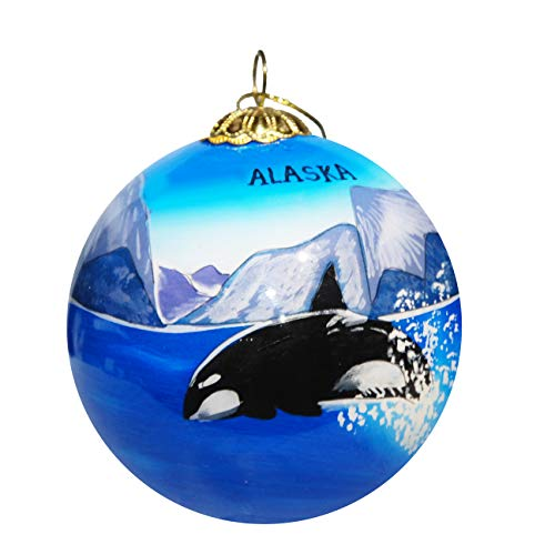 Art Studio Company Hand Painted Glass Christmas Ornament - Orca Whale Alaska