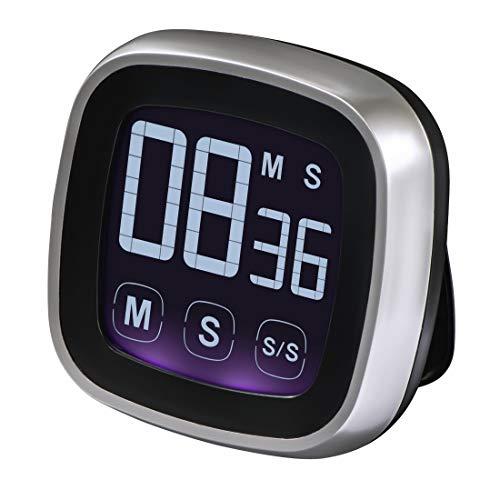 Xavax Digitaler Küchentimer, Touch-Funktion (Timer und Stoppuhr, magnetisch, bis 99 Min. 59 Sek., lauter Ton) Design Kurzzeitmesser, elektronische Eieruhr silber/schwarz