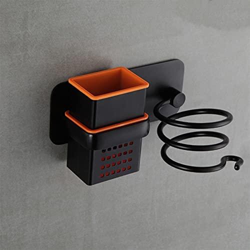 ACEACE Secador de Pelo Soporte Soplador Organizador Adhesivo Montado en la Pared Nail sin perforación Soporte de Espiral de Acero Inoxidable para baño (Color : Beige)