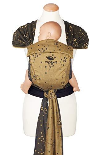 manduca Twist Babytrage für Neugeborene ab Geburt > Craspedia Gold < Neugeborenen-Trage aus Tragetuch-Stoff (Bio-Baumwolle), Weicher Bauchgurt mit Schnalle, Träger zum Auffächern und Binden