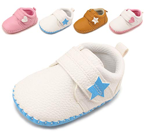Infant Baby Boys Girls Candy Sneakers, Soft Rubber Sole, Leather Baby Shoes, Toddler Walking Crib Shoes White-Blue 0-6 Months