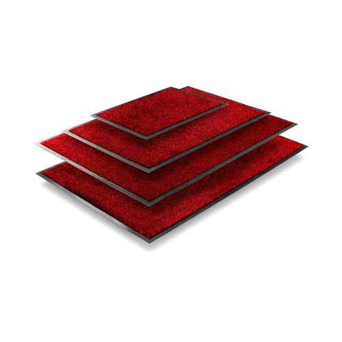 TRIBURG® Felpudo de Entrada 90x150 Rojo Negro - Resistente a la perie, Impermeable, Lavable - Alfombrilla Exterior 90 x 150 - Alfombra Exterior para Puerta Antideslizante Exterior e Interior