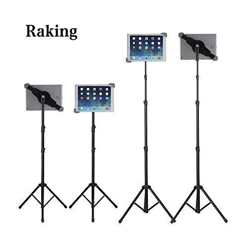 Raking Floor iPad and Tablet Tripod Stand with Carrying Bag, Adjustable Height 25 to 60 Inch Mount Holder for iPad /iPad Air /iPad Mini /Samsung Galaxy Tab and other 7-12 inch Tablets