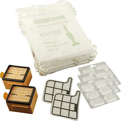 Kenekos 18 Staubsaugerbeutel Microvlies + 2 Hepafilter + 2 Motorschutzfilter + 18 x Duft geeignet für Vorwerk - Kobold 135/136 / 135SC / VK135 / VK136