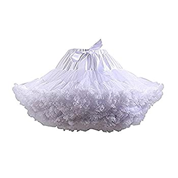 Colyanda Womens 3-Layered Pleated Tulle Petticoat Tutu Puffy Party Cosplay Skirt White