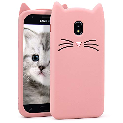 Galaxy J3 2018 Case, J3 Star/J3 Achieve/Express Prime 3/Amp Prime 3 Cute 3D Cartoon Kitty Pink Whisker Cat Ears Soft Silicone Slim Fit Bumper Case Cover for Samsung Galaxy J3 V 3rd Gen