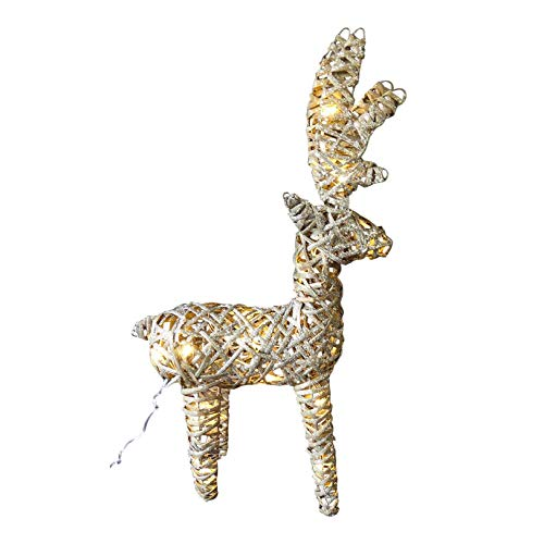 UK-Gardens Light Up 60cm 2ft Pre Lit Rustic Grey Christmas Reindeer Figure Ornament With Warm White LED Lights - Battery Operated Indoor Outdoor Christmas Decoration