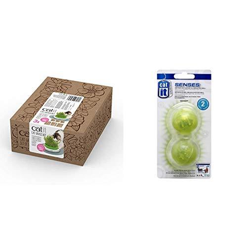 catit Katzengras 3er Pack - Cat Grass Kit & Beleuchteter Ball 2er-Pack für die Catit Tempo-Spielschinen