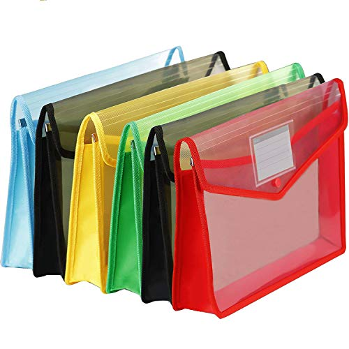 6 Pack Plastic File Wallet with Closure, CBTONE Large Plastic Document Folders Poly Expandable Envelopes Plastic File Folder with Business Card Holder for School Office Home