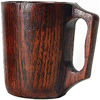 12 oz Handmade Wooden Coffee Mug Wood Outdoor Travel Mug Tea Camping Cup Wine Beer Mug with Handle for Men