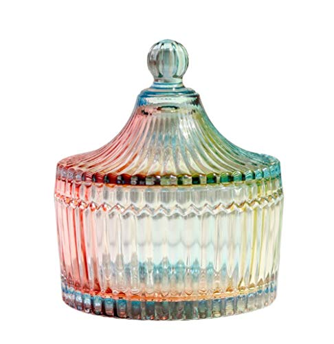 ericotry 280ML10OZ Tent Shaped Crystal Candy Jar Dishes Crystal Glass Box with Lid Apothecary Jar Food Storage Organization Sugar Bowl for Home KitchenGlazed