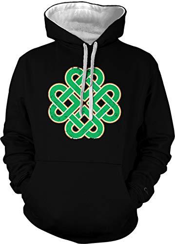 Celtic Knot Clover - Irish St. Patrick's Day Unisex Two Tone Hoodie Sweatshirt (Black/White Strings, X-Small)