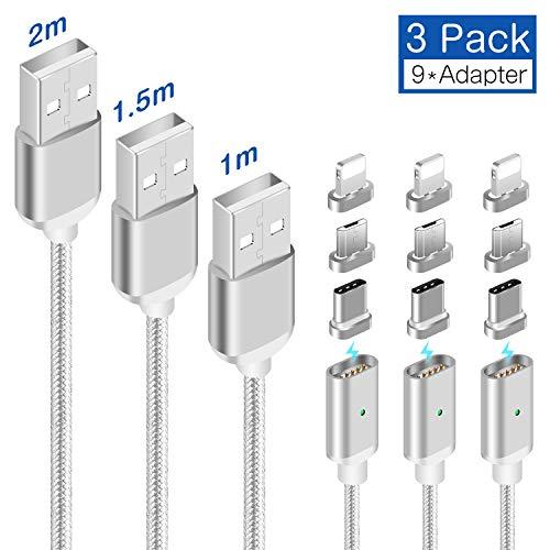 LAMA Magnet Ladekabel Magnetisches USB Datenkabel [3 Stück 1M + 1,5M + 2M] 2,1A High Speed Sync und Schnellladekabel mit Blitz Typ C Micro USB Adapter für Android Windows Phone Silber