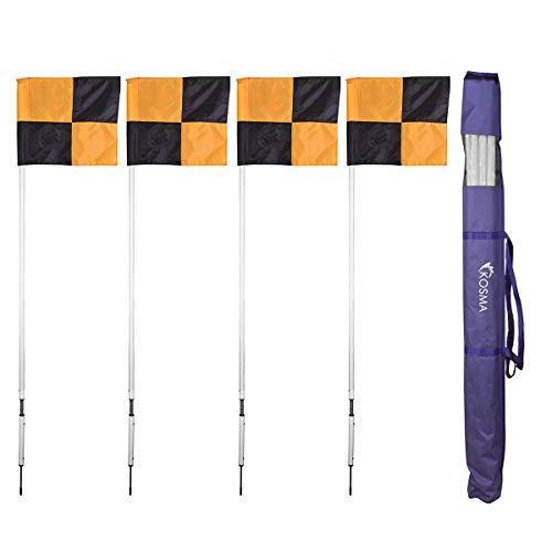 Kosma 4er Set Eckfahnen   Fußballtraining Eckflaggenstange - Gefederte weiße Stange mit Flaggen im gelb / schwarzen Quadrantenmuster - In der Tragetasche