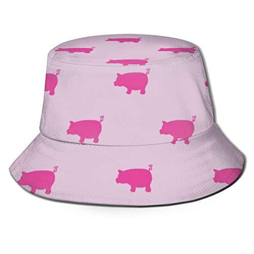 Lawenp Gorra de Cubo Plegable Unisex con Silueta de Cerdos Rosados, Sombrero de Sol de Pescador Transpirable de Verano, Sombrero de Caza para Mujeres y Hombres
