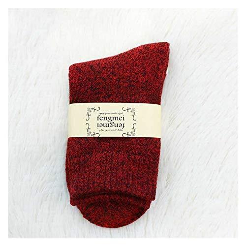 Damen Socken Winter Wamer Frauen verdicken Thermalwolle Kaschmirschnee-Socken Nahtlose Terry-Stiefel Fußboden Schlafsocken für Mens (Color : Red Black)