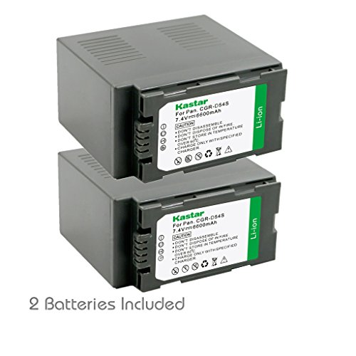 Kastar Battery (2-Pack) for Panasonic CGR-D54S, CGA-D54S, VSK0581 work with Panasonic AG-3DA1, AG-AC90, AG-DVC30, AG-DVC32, AG-DVC33, AG-DVC60, AG-DVC62, AG-DVC63, AG-DVC80, AG-DVC180, AG-DVX100, AG-DVX102, AG-HPX170, AG-HPX250, AG-HPX255, AG-HVX200, AJ-PCS060G, AJ-PX270PJ, HDC-Z10000, NV-DS29, NV-DS30, NV-DS50, NV-GX7, NV-MX5, NV-MX350, NV-MX500, NV-MX1000, NV-MX2500, NV-MX5000, AG-HRX200