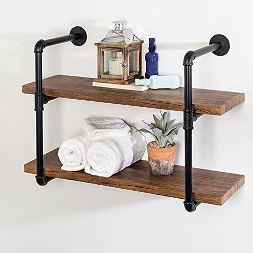 TTz Rustic Industrial Pipe Shelf, Wall Mounted Spice Rack, Floating Wooden Bookshelf, Versatile Organizer Holder (Size : 39.37x7.87x23.6in)