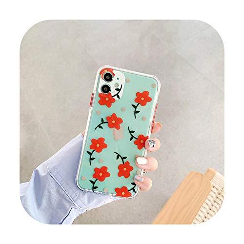 Nueva flor 3D para el iPhone 11 caja del teléfono 11 Pro Max X XR XS Max 7 8 Plus SE2020 claro floral teléfono cubierta suave TPU Coque-K8-para el iPhone 11Pro Max