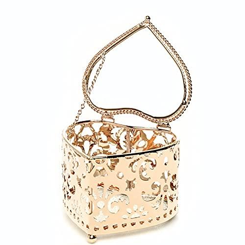 Joyero decorativo elegante de metal en forma de corazón para guardar joyas, regalo para el Día de la Madre y cumpleaños, transparente dorado (forma de corazón)