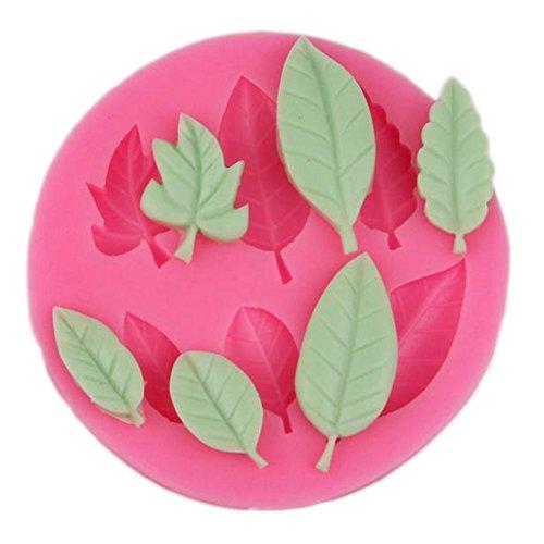 Milopon Moules à pain en silicone pour gâteau, fondant, gâteau, moisissures, chocolat, pâtisserie, sucre craft, décor (feuilles rouges)