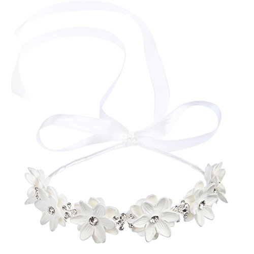 FAYBOX BRIDAL Flower Girls Elegant Headband Hair Wreath Floral Garland Photography Wedding Accessories, M, White B