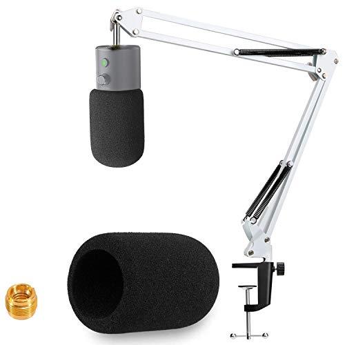 Razer Seiren X Support Microphone Professionnel Réglable avec Bonnette en Mousse Compatible avec Microphone Razer Seiren X par YOUSHARES(Blanc)