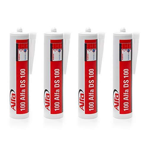 4x Bauelastischer Folienkleber in der 315 Gramm Kartusche für eine luftdichte Verklebung von Dampfbremsfolien und Fensteranschlussbändern