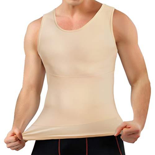 Mens Compression Shirt Slimming Body Shaper Vest Workout Tank Tops Abs Abdomen Undershirts (Beige, L)