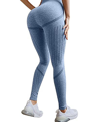 CMTOP Leggings Sin Costuras de Malla Mujer Pantalon Deportivo Alta Cintura Elásticos Fitness Pantalones de Pantalon Yoga Huecos de Nueve Puntos Pantalon (Azul Claro, S)